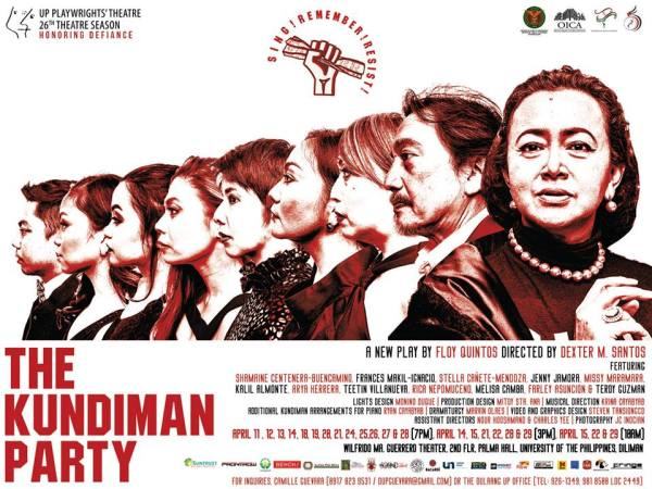 New play by Floy quintos, directed by Dexter M. Santos. Dulaang UP. The Kundiman Party.