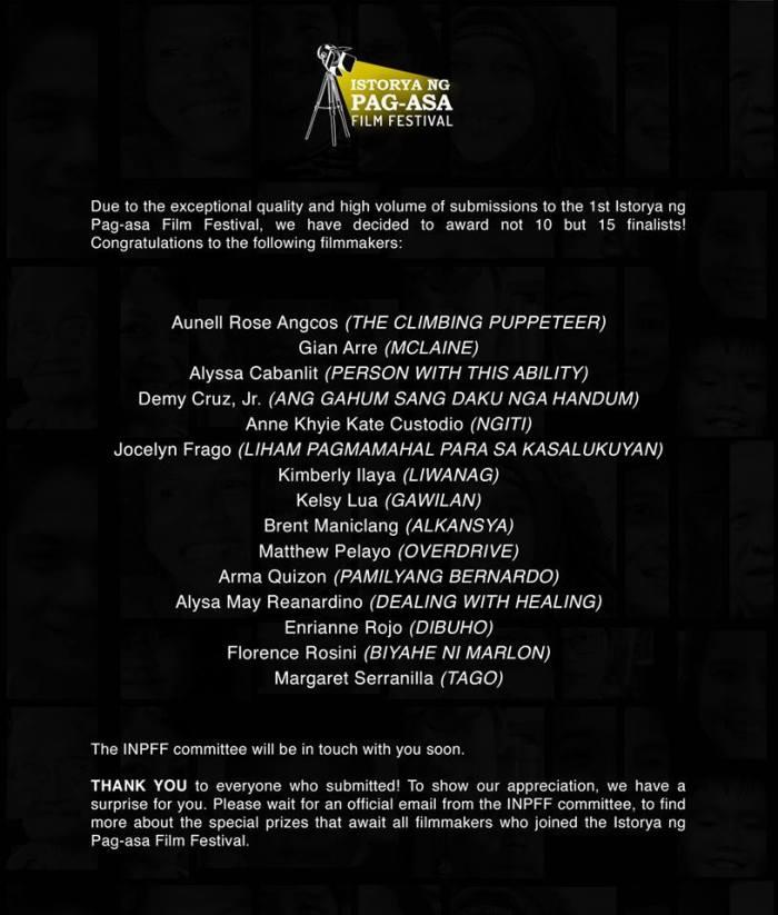 istorya ng pagasa finalists